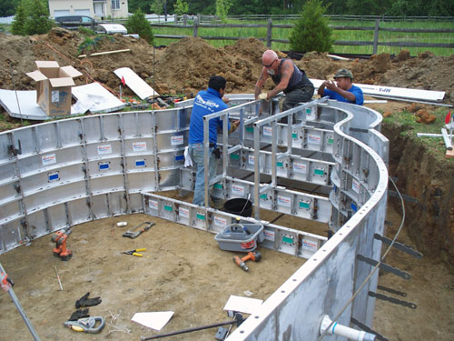 Aluminum swimming pool forms for concrete pools